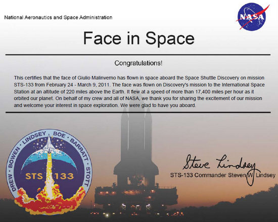Certificato NASA