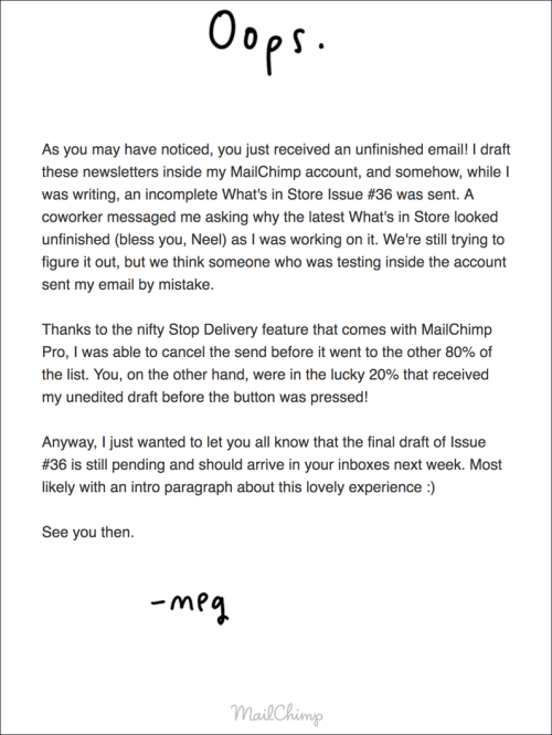 small resolution of mailchimp encountered the same challenge when a draft of their upcoming newsletter got sent to 20 of their customers once they recognized the error