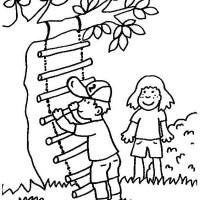 Ausmalbild Kinder Spielen   Cartoon Bild