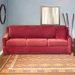 sure fit stretch pique 3 piece t cushion sofa slipcover tall back reclining seat sleeper garnet h2069937