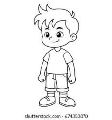 boy outline standing cartoon vector shutterstock templates vectors