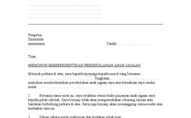 Surat Rasmi Berhenti Sekolah Surat Mm Cute766