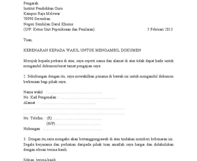 Contoh Surat Rasmi Wakil Ambil Sijil Kronis G Cute766