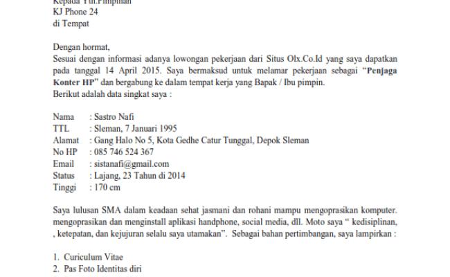 Contoh Surat Lamaran Kerja Di Toko Hp Cute766