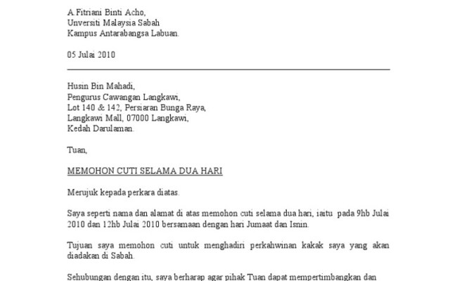 Surat Rasmi Permohonan Cuti Tanpa Gaji Arasmi Cute766