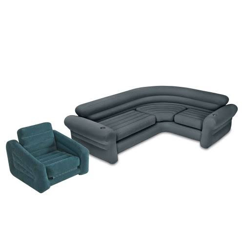 intex inflatable chairs rent chair covers for baby shower corner couch sectional sofa and pullout twin air bed