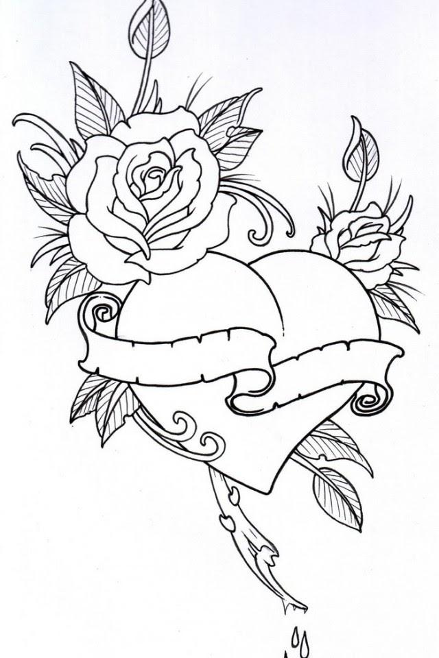 Herzen Mit Rosen Malvorlagen - Malvorlagen