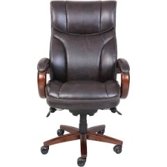 La Z Boy Trafford Big And Tall Executive Office Chair Vino Spandex Cover Air Bonded Leather Brown