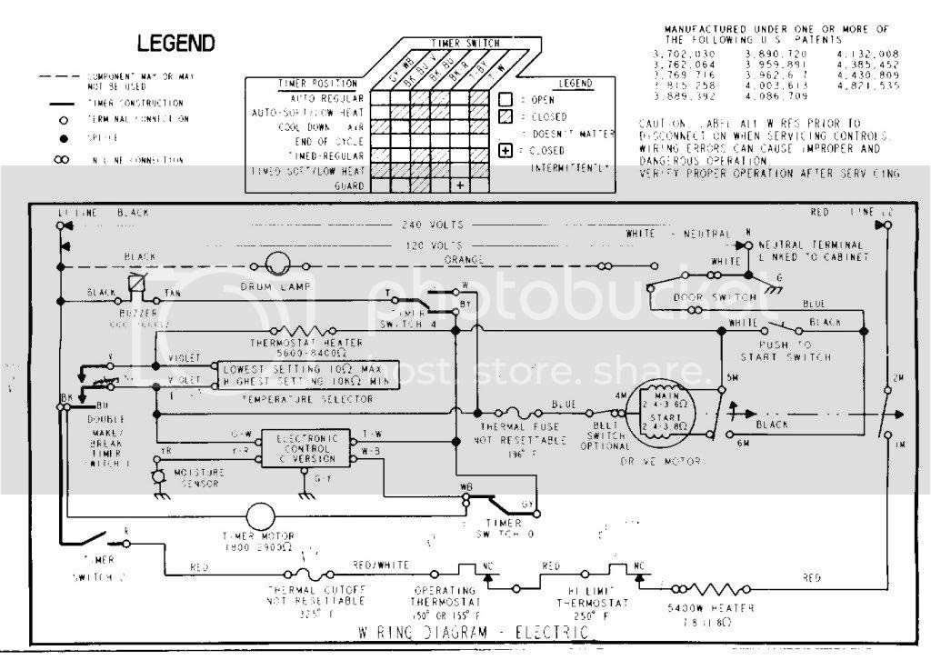 wiring diagram for a frigidaire dryer