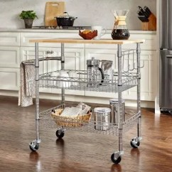 Large Kitchen Cart Bowls Stylewell Gatefield Chrome With Rubber Wood Top Grey