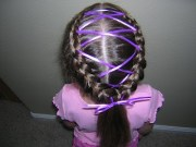 french braids with ribbons