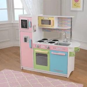 kidkraft toy kitchen slate backsplash in kids wooden uptown pretend play pink cooking playset pastel