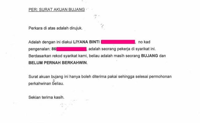 Surat Rasmi Akuan Bujang Hrasmi Cute766