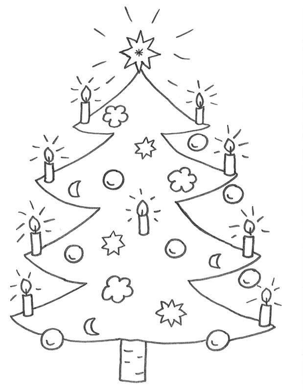 Ausmalbild Tannenbaum Weihnachtsbaum - kostenlose