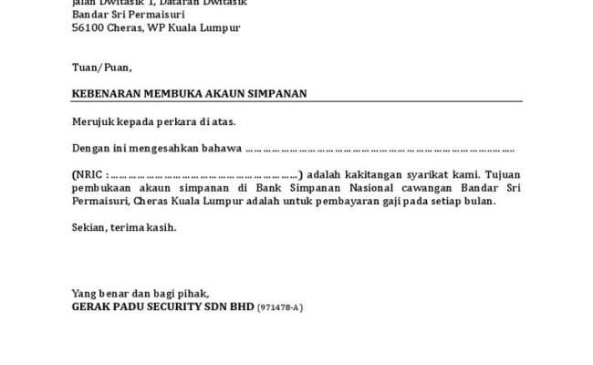 Contoh Surat Rasmi Permohonan Buka Akaun Bank Persatuan Cute766