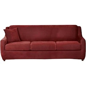 sure fit stretch pique 3 piece t cushion sofa slipcover tall bed seat sleeper garnet h2069937