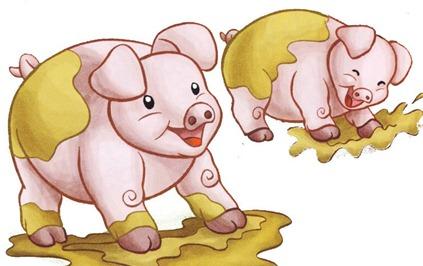 fazenda decoupage porquinhos