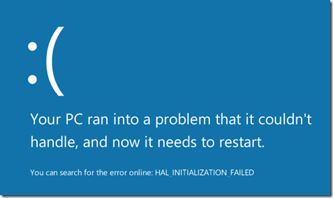 Windows8 - HAL_INITIALIZATION_FAILED