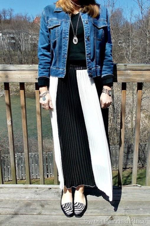 black and white striped maxi skirt, black shirt, Denim jacket, zebra flats2