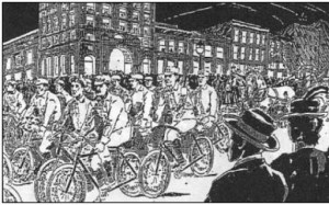 "Drawing from The Great Bicycle Protest of 1896"" by Hank Chapot"