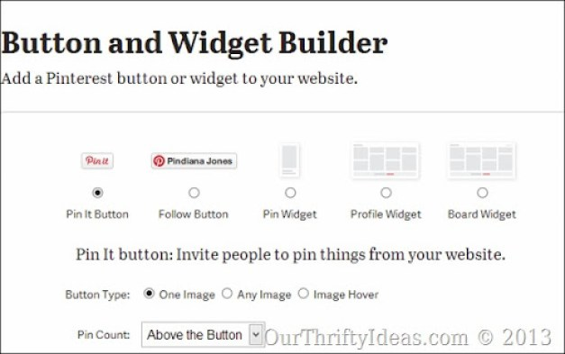 How to add a customized Pin It button to a blogger blog at ourthriftyideas.com