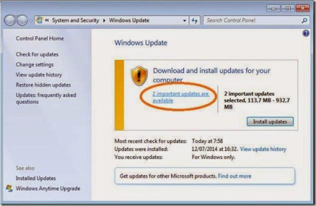cara manual menginstall update komputer windows 7