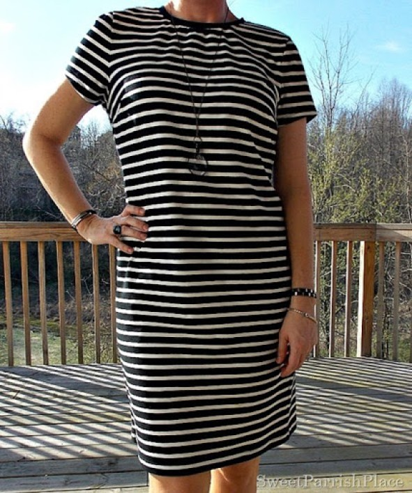 Black and white striped dress, brown peep toe booties2