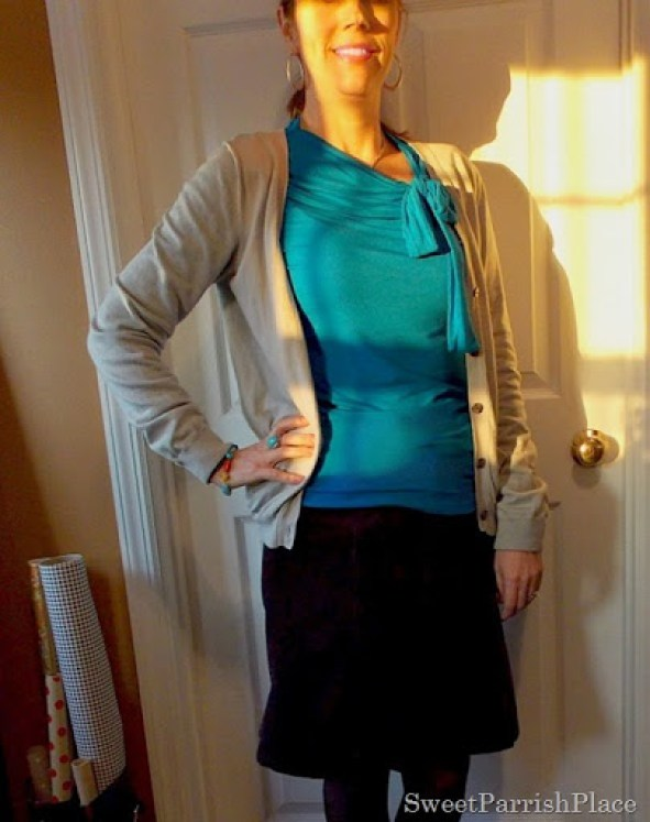 Blue bow shirt, grey cardigan, brown skirt and tights2
