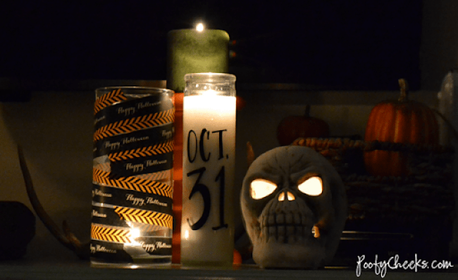 Dollar Store Candles - embellish with vinyl and washi for #Halloween