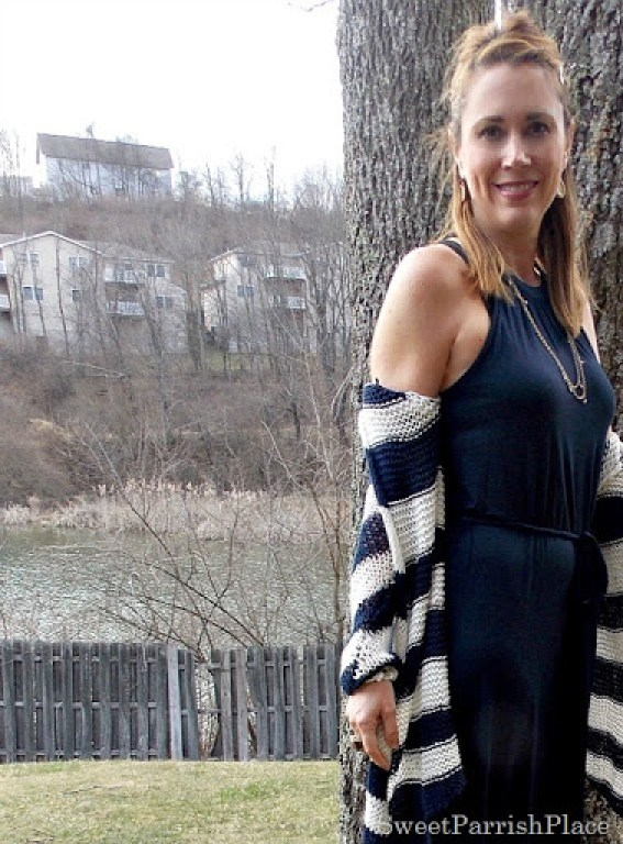 navy maxi dress, striped cardigan3
