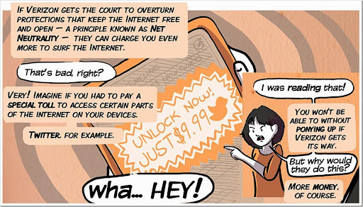 Comic depicting what would happen if big ISPs were allowed to charge for tiered internet access.