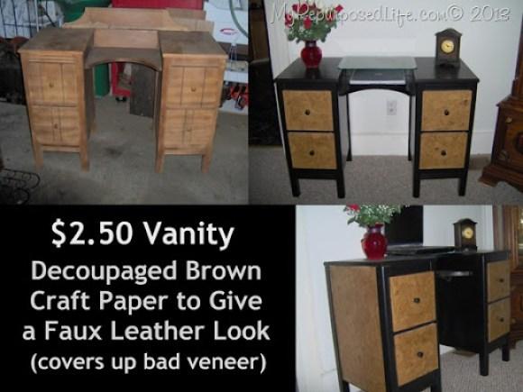 vanity brown paper bag decoupage