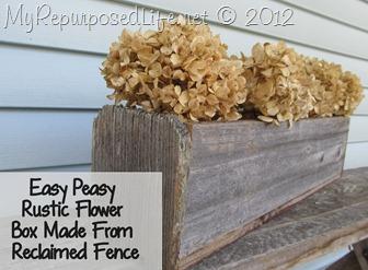 Rustic Flower Box Relcaimed Fence
