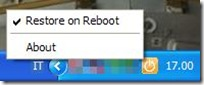 Reboot Restore Rx icona nella barra di Windows