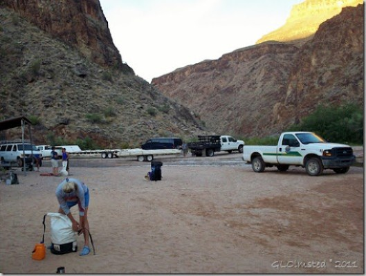 Packing under first light on canyon walls across from Diamond Creek Hualapai Reservation Arizona