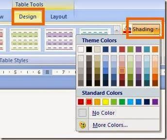 pilihan template desain table