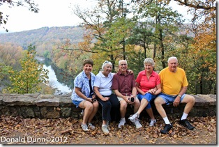 Kay, Joan, Jim, Cheryl, and Jim overlooking the Mulberry River
