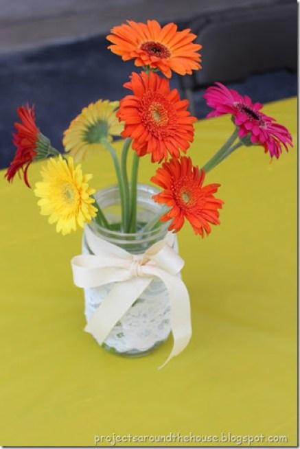 Mason Jar Ribbon and Lace Centerpiece