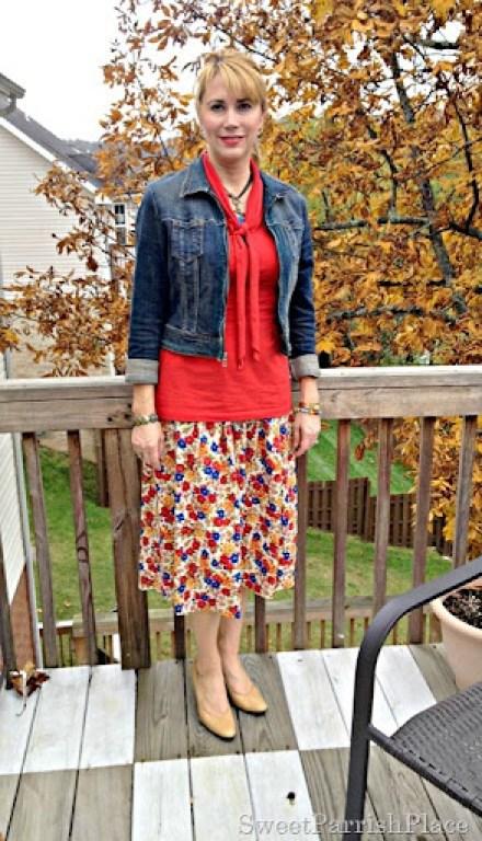 floral skirt and denim