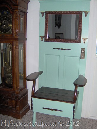 repurposed door and chair make a great hall tree