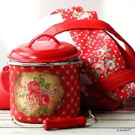 kolekcija polka dots and roses in red- lončić za mlijeko i torba