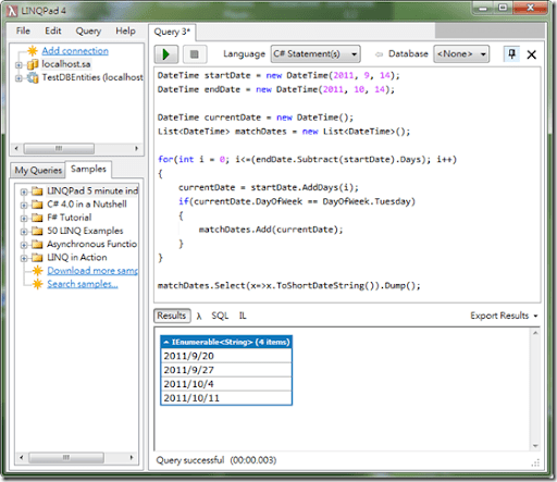 mrkt 的程式學習筆記: 練習題:於指定的日期區間中取出符合指定DayOfWeek的日期