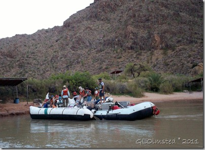 Staff on the S-rig at Diamond Creek camp & pull out ~RM225.8 Colorado River trip Hualapai Reservation Arizona