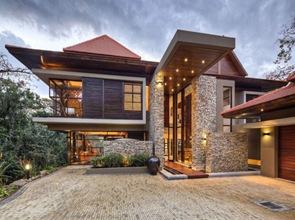fachada piedra vista casa moderna