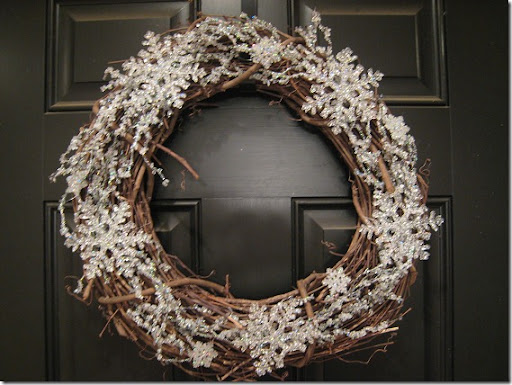 Winter wreath--grapevine wreath with large snowflake