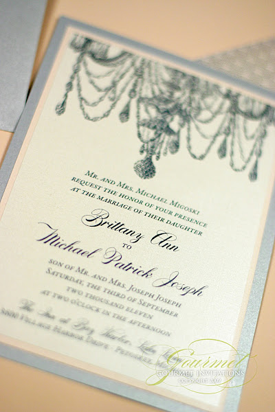Brittany Michael Chandelier Invitations Gourmet