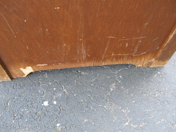 vintage desk damaged veneer