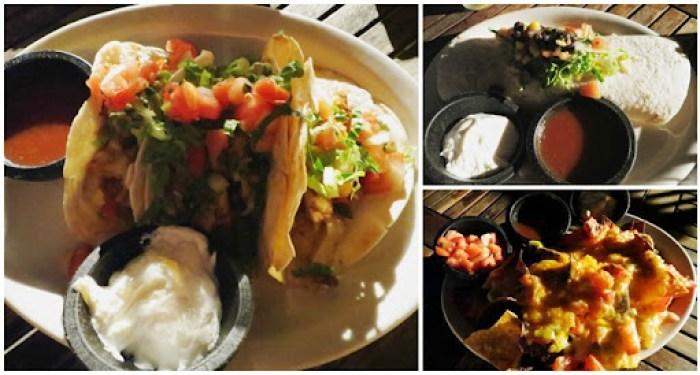 fish tacos. chicken burrito. veggie nachos