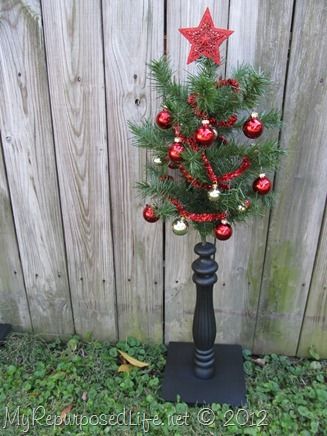 repurposed Christmas Tree and spindles