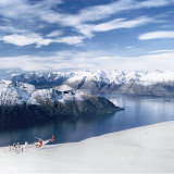 """Heliskiing in New Zealand. Great helicopter ride and views. The skiing was unfortunatly not that good due to """"breaking crust""""...Lake Wakatipu in the background"""